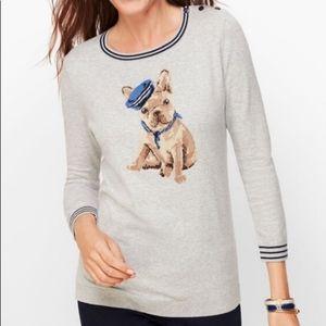 NWOT! Talbots Gray Black Frenchie Dog Sweater LP